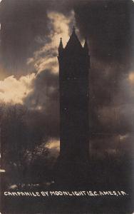 Ames Iowa~Iowa State College~Campanile by Moonlight~1908 Real Photo Postcard
