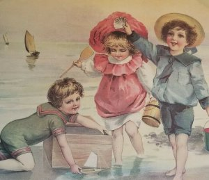 Cute Children Playing on Beach Vintage Large Victorian Style 1920's Litho Boat