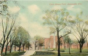 Janesville Wisconsin~Courthouse Park~Steps Up to Fountain~1908 Postcard