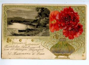 240694 Landscape ART NOUVEAU Flowers in VASE Vintage postcard