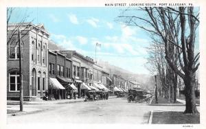 Port Allegany Pennsylvania~Main Street in Winter~Bluesky Postcard c1916