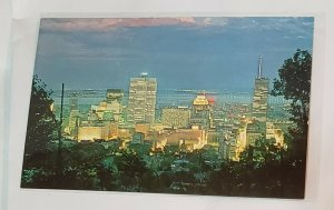 Vintage Postcard:CANADA- Montreal-Night view-aerial cityscape