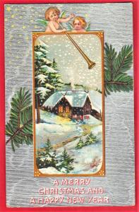 GREETINGS MERRY CHRISTMAS & HAPPY NEW YEAR 1912 PRINTED IN  GERMANY SEE SCAN