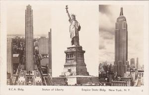 Statue Of Liberty R C A Building and Empire State Building New York City Real...