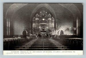 Johnstown PA-Pennsylvania Franklin St Methodist Church Interior Vintage Postcard