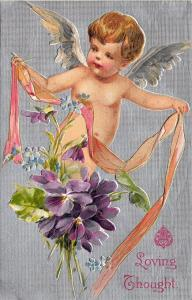 Valentine Loving Thought Cupid With Ribbon Flowers Postcard