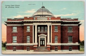 St Anthony Idaho~Fremont County Court House~In Own Home at Last~1912 Postcard