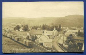 Beecher Falls Vermont vt birds eye view railroad cars train street view postcard
