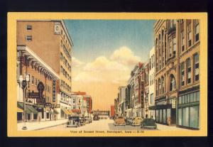 Davenport, Iowa/IA Postcard, View Of Second Street, Old Cars, 1940's?