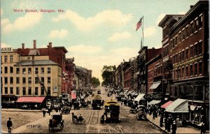 Postcard ME Maine Bangor Main Street Trolley Cars Posted 1915