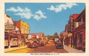 South Fallsburg New York Main Street Scene Store Fronts Antique Postcard K98425