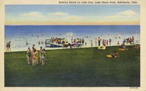 Bathing Beach on Lake Erie, Lake Shore Park ~ Ashtabula OH Ohio ~ Linen Postcard