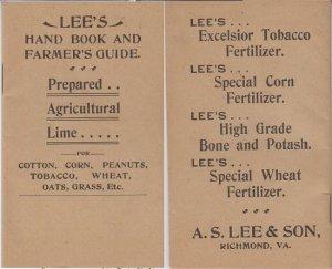 RICHMOND - A S LEE'S FERTILIZER HANDBOOK / 1905 Corn Tobacco +