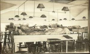 Science Lab Anataomy Cadavers Bodies on Tables Lights Book MaCabre RPPC c1910