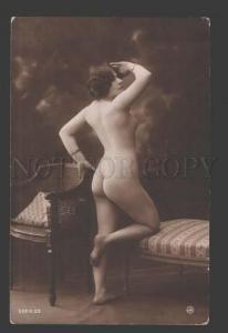 113899 NUDE Woman BELLE near Chair Vintage PHOTO JA #23