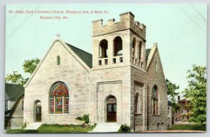 Kansas City MO~Hyde Park Christian Church~Westport Avenue @ Main Street~c1910