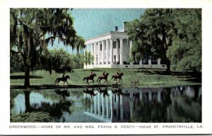 Louisiana St Francisville Greenwood Home Of Mr and Mrs Frank S Percy