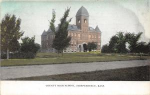 Independence Kansas~County High School~Small Trees in Front Yard~c1910 Postcard