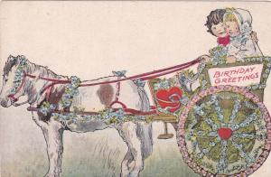 Birthday Greetings, Boy and girl in horse pulled carriage, 10-20s