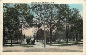 Muskegon Michigan~Monument in Hackley Park~1918 Postcard