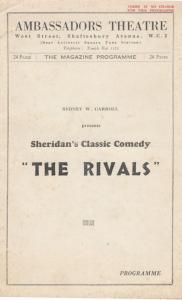 The Rivals Sydney Carroll Comedy London Ambassadors Theatre Programme
