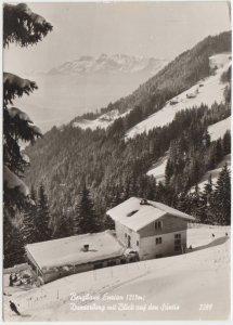 Berghaus Enzian 1215 m, Dunserberg mit Blick auf den Santis, Austria, used RPPC