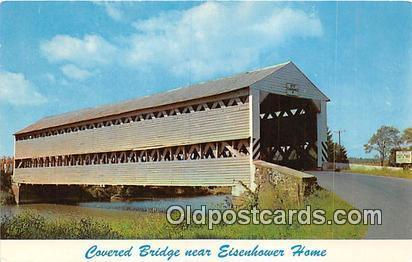 Postcard Covered Bridge, Eisenhower Home