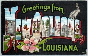 NEW ORLEANS Louisiana Large Letter Postcard Pelican KROPP Linen w/ 1939 Cancel