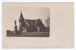 Church Soldier Monument Milbank SD 1908 RPPC postcard