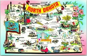 1960s NORTH DAKOTA Map Postcard State Flag Flower / Comic Drawings Chrome Unused