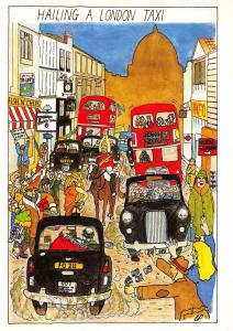 Postcard Comic Fun, Funny, Hailing a London Taxi, Black Cab, Red London Bus NEW