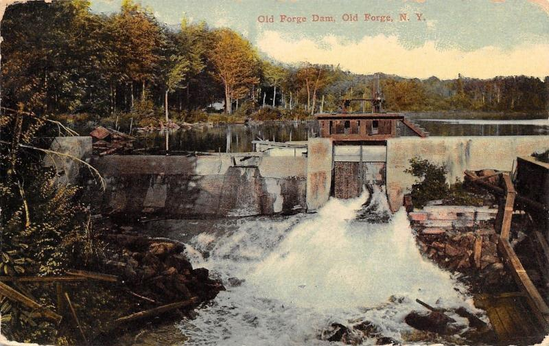 Old Forge New York~Old Forge Dam~Spillway~Steps on Top~1914 Postcard