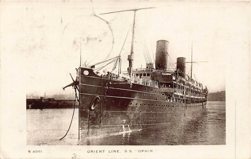 Orient Line SS Ophir ship real photo Postcard