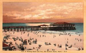 Old Orchard Beach, ME, Bathing Beach & Pier, Linen Vintage Postcard f7101