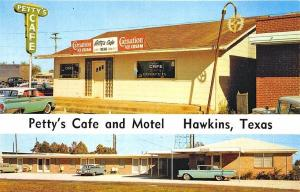Hawkins TX Petty's Cafe Motel Ice Cream Sign Old Cars Postcard
