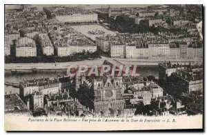 Old Postcard Panorama Lyon Place Bellecour View from the Lift Tower Fourvires