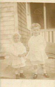Vintage Postcard RPPC Children Standing On Porch