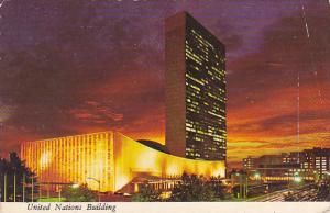 United Nations Buildiong At Night New York City
