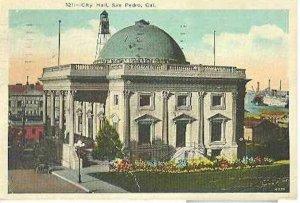 pc8040 postcard San Pedro California City Hall Postally used 1932 No stamp.