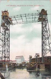 Illinois Chicago Lift Bridge Halsted Street &  River