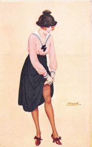 Woman Fixing Nylon Stocking Signed Constantin Meunier Postcard