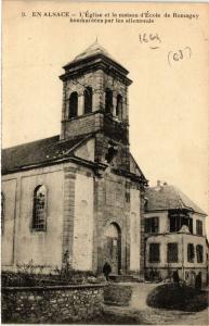 CPA   En Alsace - L'Égise et le maison d'École de Romagny bombardées ...(353762)