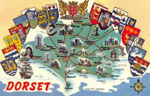 Vintage Dorset Postcard, Scenic Map with Coats of Arms GB1