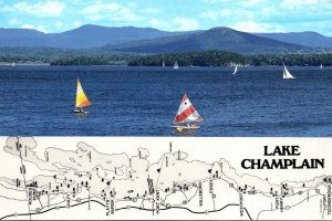 New York Adirondacks Lake CHamplain Map and Sailboats