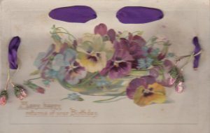 Woven Ribbon ; Pansy Flowers , Birthday , 00-10s