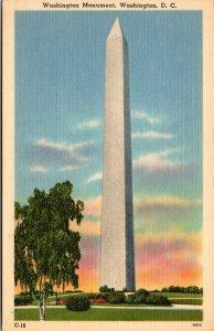 Vtg 1930s Washington Monument Washington DC Unused Postcard