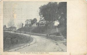 Logan Ohio~Spring Street Terrace~Homes on Hill~Block Wall With People~1925