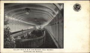 Steamship Interior Gallery Deck C&B Line Cleveland-Buffalo c1910 Postcard rpx