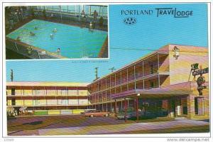 Portland Oregon Travel Lodge Hotel Motel restaurant split view , 50-60s Versi...