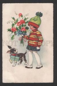 118259 FRENCH BULLDOG & Charming Girl Vintage Greeting PC